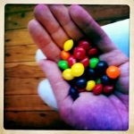 skittles to celebrate a friend's birthday in absentia