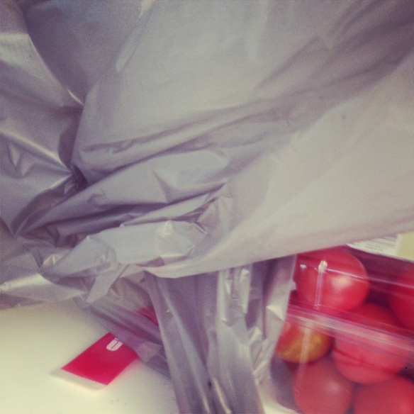 tomatoes and bag.